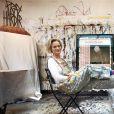 Delphine Boël, fille illégitime supposée du roi Albert II de Belgique, dans son atelier chez elle à Uccle en juin 2014. © Olivier Polet/Reporters/ABACAPRESS.COM