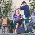 """Exclusif - Catherine Deneuve et Gérard Depardieu - Tournage du film """"La bonne pomme"""" sous la direction de la réalisatrice Florence Quentin à Flagy près de Fontainebleau le 7 septembre 2016."""