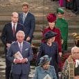 Le prince William, duc de Cambridge, et Catherine (Kate) Middleton, duchesse de Cambridge, Le prince Charles, prince de Galles, et Camilla Parker Bowles, duchesse de Cornouailles, La reine Elisabeth II d'Angleterre, Le prince Harry, duc de Sussex, Meghan Markle, duchesse de Sussex - La famille royale d'Angleterre lors de la cérémonie du Commonwealth en l'abbaye de Westminster à Londres le 9 mars 2020.