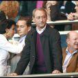 Rachida Dati au Parc des Princes pour le match Lyon/PSG avec Bertrand Delanoé, Luc Chatel, Eric Besson, une supporter de choc !