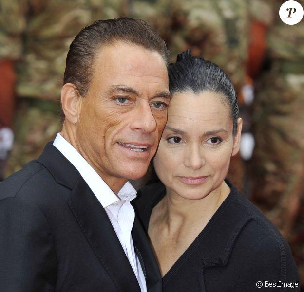 Jean-Claude Van Damme et Gladys Portugues à la première de Expendables 2 à Londres
