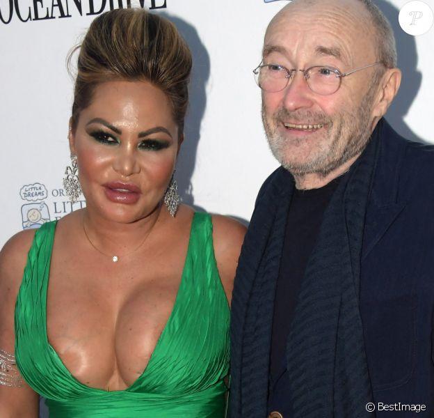 Phil Collins et sa femme Orianne au photocall du 4e gala de la fondation Little Dreams à Miami.