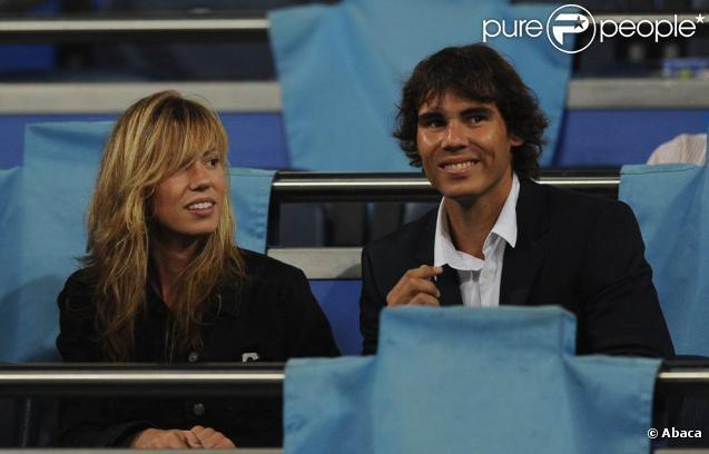 Rafael Nadal en charmante compagnie pendant le match Real de Madrid/Marseille, le 30 septembre à Madrid.