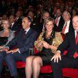 Charlene Wittstock, Princesse Astrid, Prince Lorenz de Belgique et  Prince Albert II de Monaco lors de la cérémonie de remise des prix de la Fondation d'Albert II de Monaco à Monaco au Forum Grimaldi de Monte-Carlo le 10 octobre 2009