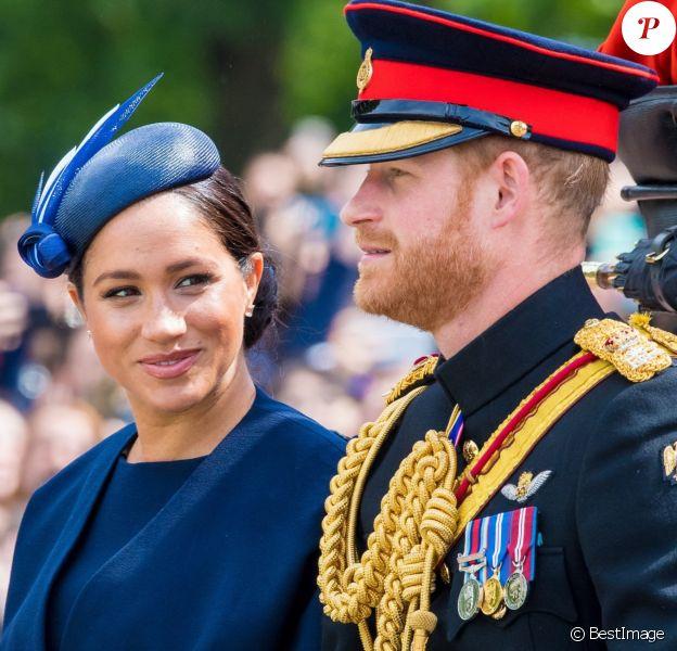Le prince Harry, duc de Sussex, et Meghan Markle, duchesse de Sussex, première apparition publique de la duchesse depuis la naissance du bébé royal Archie lors de la parade Trooping the Colour 2019, célébrant le 93ème anniversaire de la reine Elisabeth II, au palais de Buckingham, Londres.