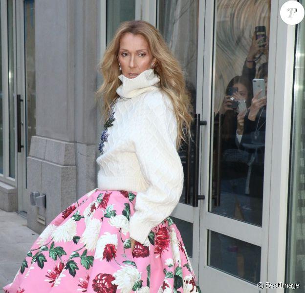 Celine Dion à la sortie de son hôtel à New York