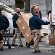Les déménageurs s'occupent des affaires de Donald J. Trump pour son départ de la Maison Blanche à Washington, The District, Etats-Unis, le 14 janvier 2021.