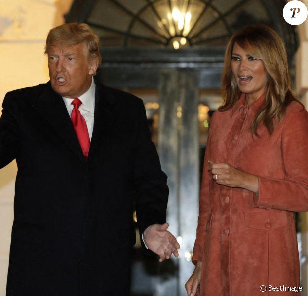 Le président américain Donald Trump et sa femme la première dame Melania Trump reçoivent des enfants pour Halloween à La Maison Blanche à Washington