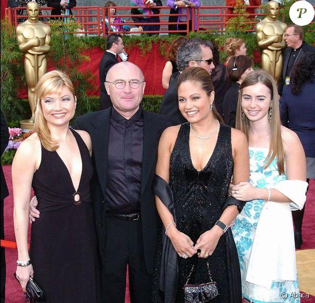 Joely Collins, fille adoptive de Phil Collins, le chanteur lui-même, sa troisième ex-femme Orianne Cevey et sa fille Hilary