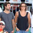 Laure Manaudou et son compagnon Jérémy Frérot (du groupe Fréro Delavega) - People dans les tribunes lors de la finale des Internationaux de tennis de Roland-Garros à Paris, le 7 juin 2015.