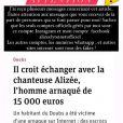 Alizée a posté ce message en story Instagram suite à l'arnaque dont un fan a été victime.