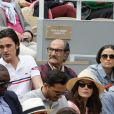 Nelson Monfort, Alain-Fabien Delon, Gérard Hernandez et Capucine Anav dans les tribunes lors des internationaux de tennis de Roland Garros à Paris, France, le 30 mai 2019. © Jacovides-Moreau/Bestimage
