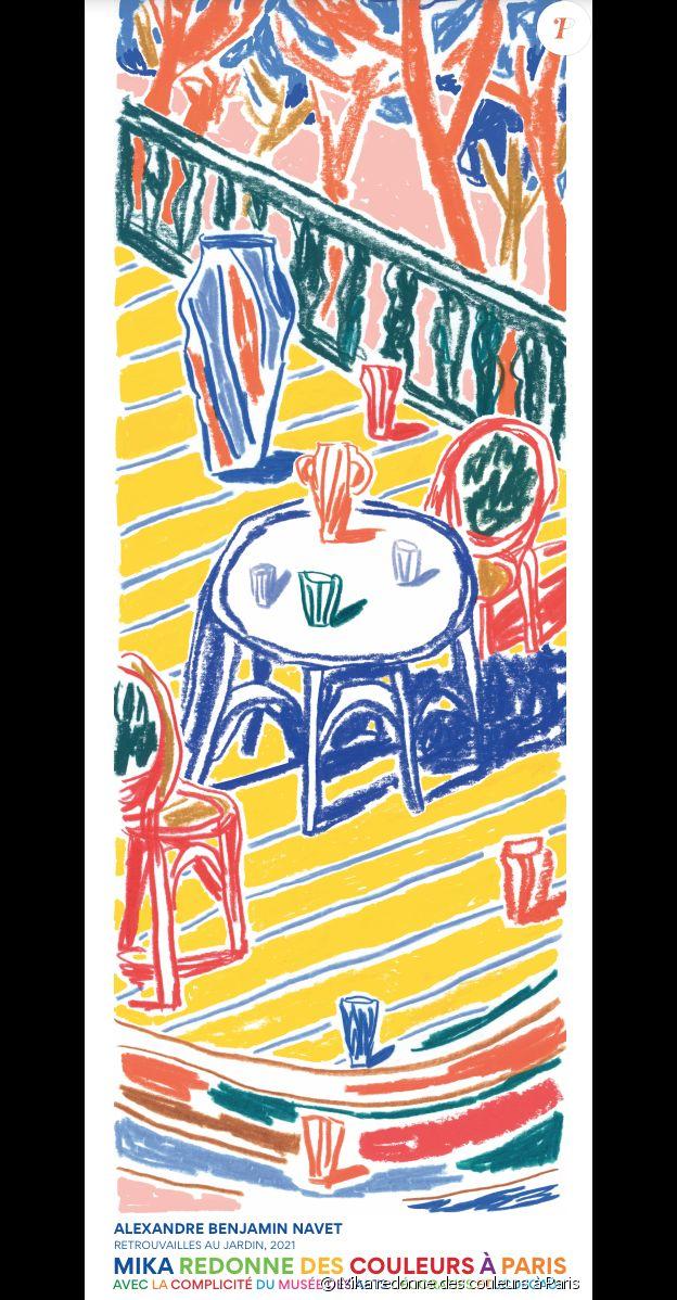 """Affiche de la colonne Morris d'Alexandre Durand, """"Retrouvailles au jardin"""" - Oeuvre de l'exposition urbaine """"Mika redonne des couleurs à Paris"""" composées d'oeuvres d'Aurélia Durand, Laurindo Feliciano, Ugo Gattoni, Annick Kamang, Marie Mohanna, Lamia Ziade, Alexandre Benjamin Navet, Lamarche-Ovize et Rosa Maria Unda Souki. Ils renouent tous avec la longue tradition des affiches artistiques de la Belle Époque, dans les pas de Toulouse-Lautrec ou Mucha."""
