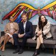 Le prince Harry, duc de Sussex, et Meghan Markle, duchesse de Sussex, visitent l'association caritative Pillars à Auckland, Nouvelle-Zélande, le 30 octobre 2018. Cette organisation caritative soutient les enfants qui ont un parent en prison en leur proposant des programmes de mentorat (soutien).