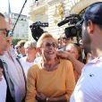 Deux jours après le verdict du procès pour fraude fiscale des époux Balkany, Isabelle Balkany est allée à la rencontre de Levalloisiens le jour du marché sur la place de la mairie à Levallois-Perret, France, le 15 septembre 2019. © Dominique Jacovides/Bestimage