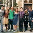 """Sranislas Lanevski, Clémence Poesy, Rupert Grint, Emma Watson, Daniel Radcliffe, Katie Leung et Robert Pattinson - Photocall du film """"Harry Potter et la coupe de feu"""" à Londres."""
