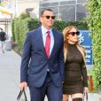 Exclusif - Jennifer Lopez et son fiancé Alex Rodriguez arrivent à un rendez-vous d'affaires dans le quartier de Beverly Hills à Los Angeles, le 18 février 2020