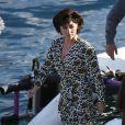 """Lady Gaga sur le tournage du film """"House of Gucci"""", sur le lac de Côme. Le 18 mars 2021."""
