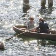"""Lady Gaga et Adam Driver voguent sur le lac de Côme pour le tournage du film """"House of Gucci"""". Le 18 mars 2021."""