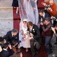 """Exclusif - Lady Gaga et Adam Driver tournent la scène du mariage de Patrizia Reggiani et Maurizio Gucci pour le film """"House of Gucci"""". Rome, le 8 avril 2021."""