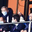 Nicolas Sarkozy dans les tribunes lors du match de quart de finale de la Ligue des Champions opposant le Paris Saint-Germain au Bayern Munich au Parc des Princes à Paris, le 13 avril 2021. © Jean-Baptiste Autissier/Panoramic/Bestimage