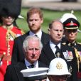 Le prince Charles, prince de Galles, le prince Edward, comte de Wessex, le prince Harry, duc de Sussex - Arrivées aux funérailles du prince Philip, duc d'Edimbourg à la chapelle Saint-Georges du château de Windsor, le 17 avril 2021.