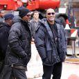 Samuel L. Jackson et Dwayne Johnson, sur le tournage de  The Other Guys , la nouvelle comédie policière d'Adam McKay, qui se tourne à New York, le 23 octobre 2009 !