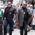 Dwayne Johnson et Samuel L. Jackson, sur le tournage de  The Other Guys , la nouvelle comédie policière d'Adam McKay, qui se tourne à New York, le 23 octobre 2009 !