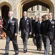 Le prince Andrew, duc d'York, le prince Edward, comte de Wessex, le prince William, duc de Cambridge, Peter Phillips, le prince Harry, duc de Sussex, David Armstrong-Jones, comte de Snowdon, Sir Timothy Laurence - Arrivées aux funérailles du prince Philip, duc d'Edimbourg à la chapelle Saint-Georges du château de Windsor, le 17 avril 2021.