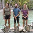 """Lucie, Jonathan et Maxine durant l'épreuve des poteaux lors de la finale de """"Koh-Lanta, Les Armes secrètes"""" sur TF1."""