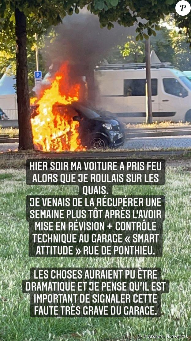Victoria Monfort, la fille de Nelson Monfort, raconte comment sa voiture a pris feu en pleine circulation à Paris le 8 juillet 2021 sur Instagram.