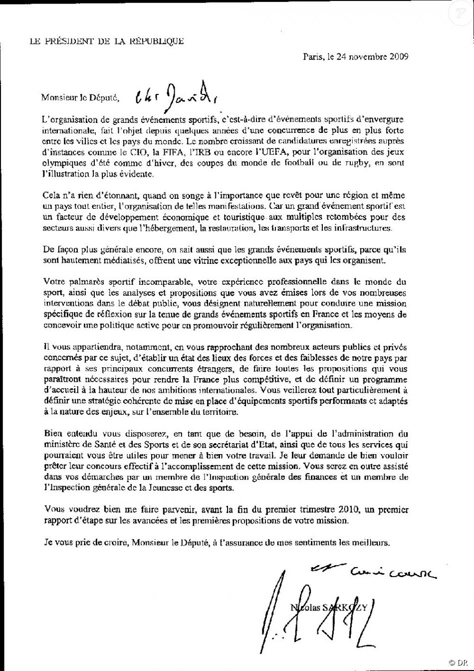 lettre pour son copain Lettre de Nicolas Sarkozy à son copain David   Purepeople lettre pour son copain