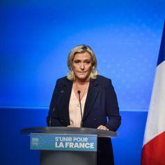 Discours de Marine Le Pen au Palais des Congres de Perpignan lors du congrès du Rassemblement National (RN) à Perpignan, France, le 4 juillet 2021. © Thierry Breton/Panoramic/Bestimage