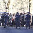Bertrand Cantat avec ses enfants et ses proches à l'enterrement de sa femme Kristina Rady aujourd'hui le 18 janvier dans les Landes