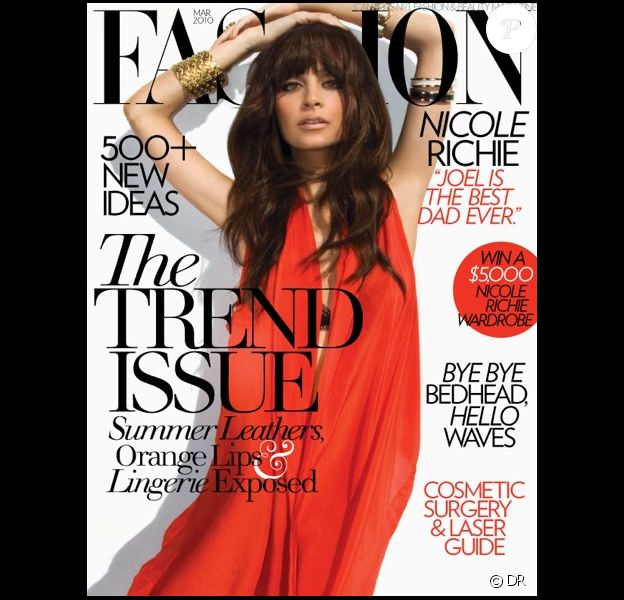 Nicole Richie en couverture du magazine Fashion du mois de mars