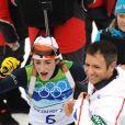 Marie-Laure Brunet lors de sa troisième place du 10 km du biathlon, à l'occasion des J.O. de Vancouver, le 16 février 2010.