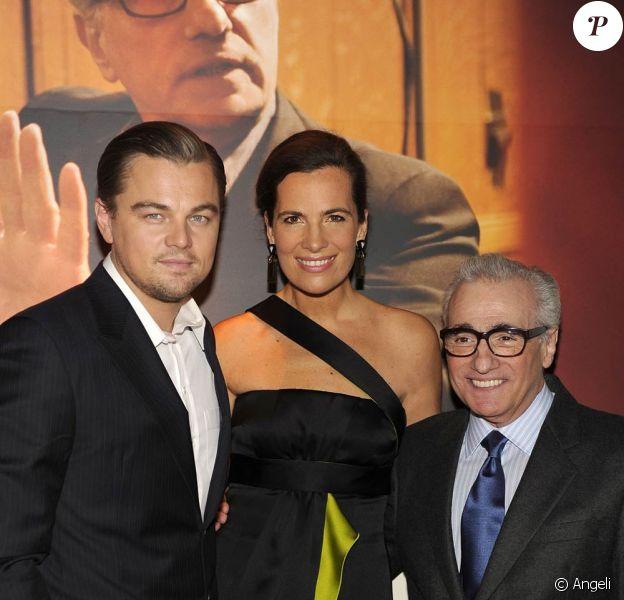 Leonardo DiCaprio, Roberta Armani et Martin Scorsese à l'occasion de la soirée donnée à l'Armani Ristorante après la projection de Shutter Island, à New York, le 17 février 2010.