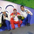 Conférence de presse après le 15 km de biathlon, avec Martin Fourcade, médaillé d'argent...
