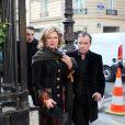 Jeane Manson et Fabien Lecoeuvre lors des obsèques de Patrick Topaloff le 11 mars 2010 à Paris en l'église orthodoxe de la rue Daru