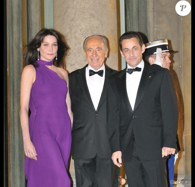Diner à l'Elysée en l'honneur de Shimon Peres : Carla et Nicolas Sarkozy