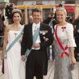 Mary et Frederik de Danemark, aux côtés de Mette-Marit de Norvège, aux 70 ans de la reine Margrethe de Danemark. Copenhague, le 15/04/2010