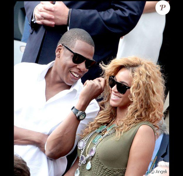 Jay-Z et sa femme Beyoncé à Roland Garros, le 6 juin 2010