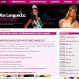 """""""Capture d'écran du site internet officiel de Miss France, région Languedoc """""""