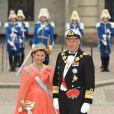 Samedi 19 juin 2010 : Le mariage de la princesse Victoria de Suède et de Daniel Westling, apothéose de leur conte de fées, a été béni par un incroyable cortège de royaux. Le roi Harald et kla reine Sonja de Norvège.