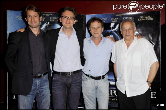 Grégori Dérangère, Gabriel Le Bomin, Charles Berling et Francis Perrin lors de l'avant-première du film Insoupçonnable le 5 juillet 2010