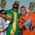 Sean Kingston (en vert), Chris Brown (en orange) et un ami