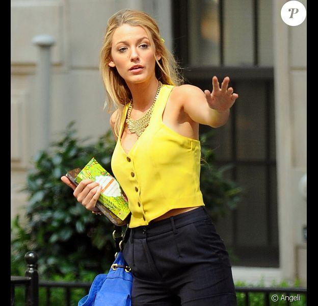 Blake Lively sur le tournage de Gossip Girl à New Girl, le 18 août 2010