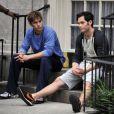 Penn Badgley et Chace Crawford sur le tournage de Gossip Girl à New Girl, le 18 août 2010