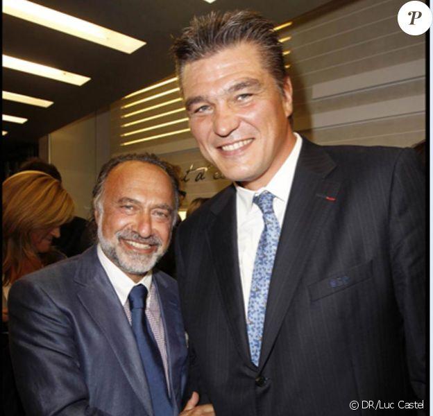 David Douillet le 8 septembre à la soirée de l'Avenue Montaigne avec Olivier Dassault à la boutique Dupont