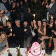 Sarah Lelouch, Salomé Lelouch, Audrey Dana, Claude Lelouch, Sabaya  Lelouch, Valérie, Tess, Sachka et Simon lors de la soirée à L'Arc pour fêter la  sortie de Ces Amours-là et les 50 ans des Films 13 à Paris le 12  septembre 2010